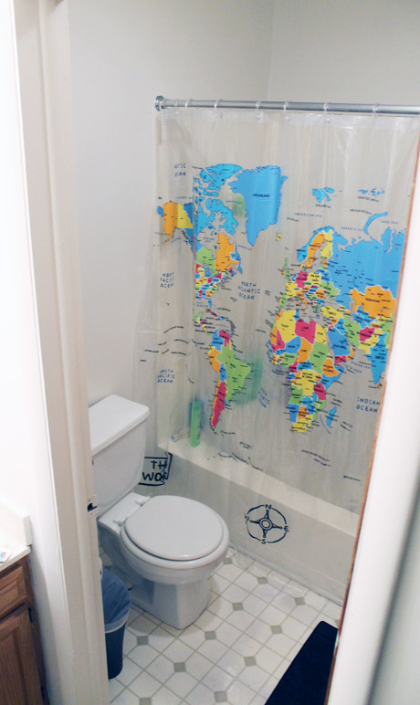 The World in Our Bathroom on bed map, bedroom map, portico map, exterior map, basement map, newfoundland and labrador map, security map, cafeteria map, secret passage map, fallout shelter map,